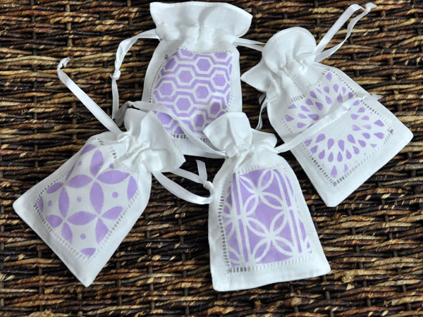 Cute Stamped Linen Favor Bags