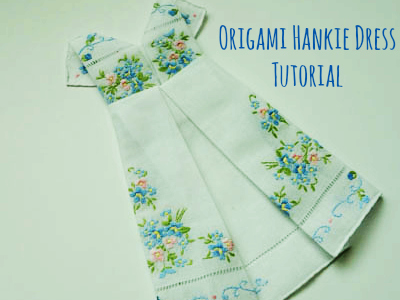 Framed Origami Dress Hankie Tutorial Bumblebee Linens