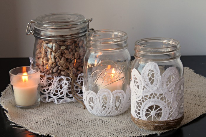 Lace Mason Jars With Doilies Home Decor And Crafts With