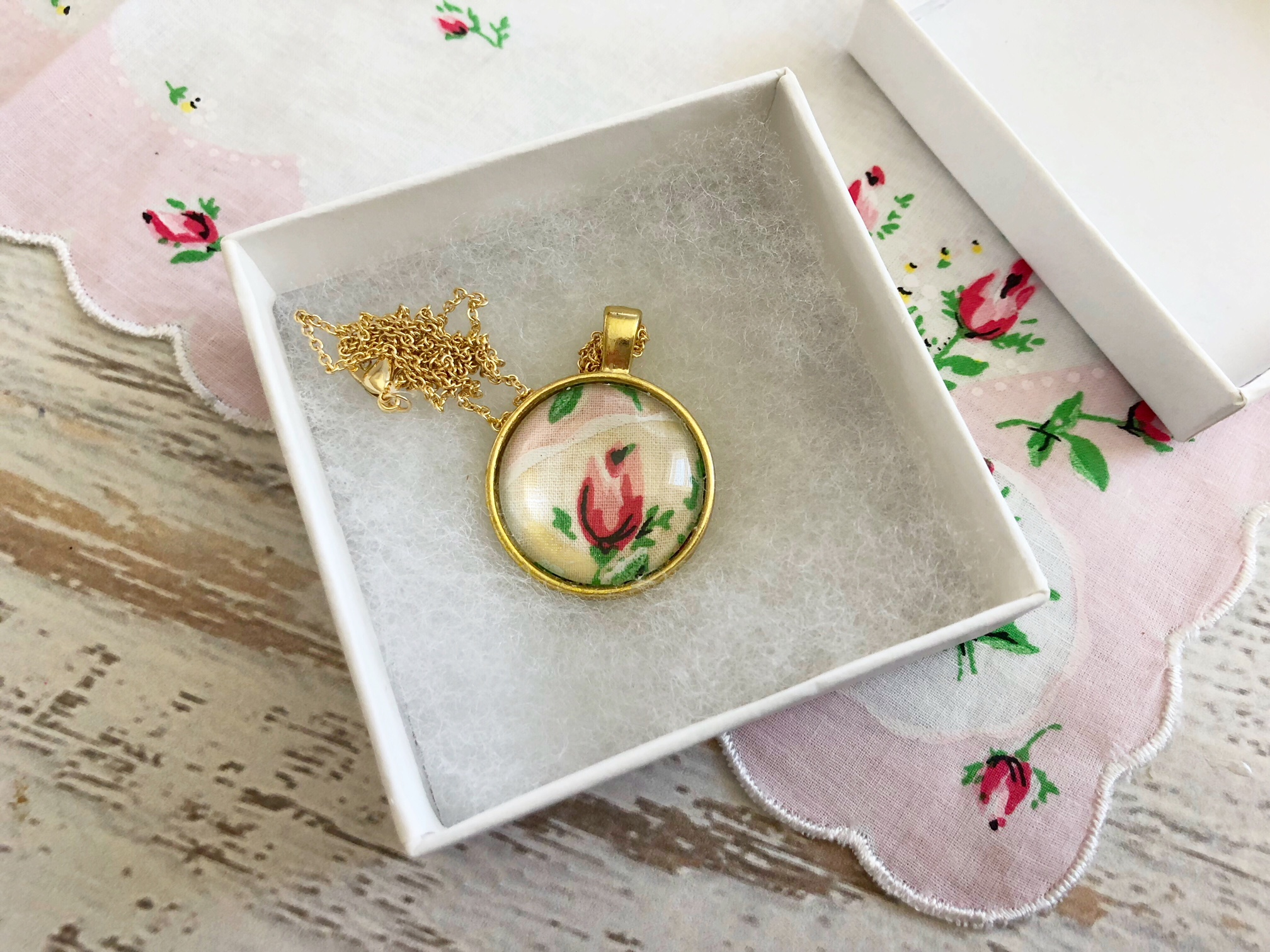 Our Handkerchief Pendant Necklace is a beautiful way to upcycle your favorite handkerchief.