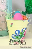 Easter is on it's way, don't bother with those store bought plastic baskets when you can personalize an adorable Decoupage Easter Pail with a Spring colored Handkerchief.