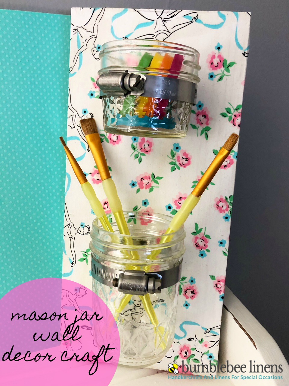 Our Mason Jar Wall Decor Craft is a perfect decor addition to any craft room or bedroom, completely customizable to your liking.