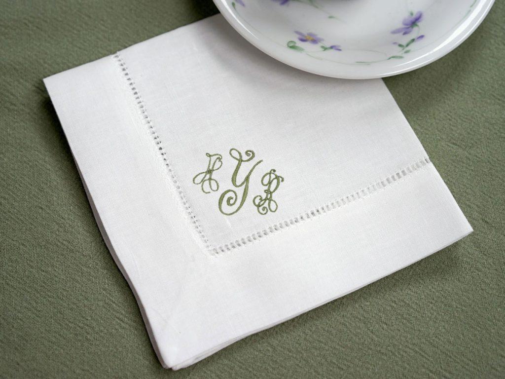 monogrammed tea napkins