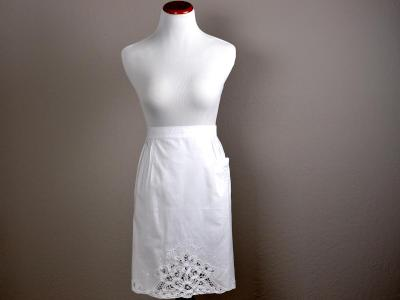 White Battenburg Lace Half Length Bibless Hostess Apron