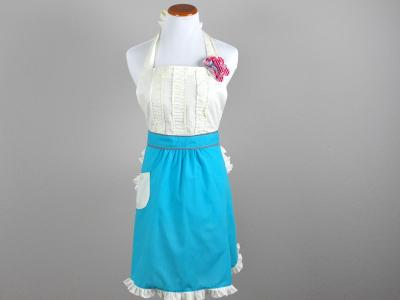 Ladies Sassy Teal Full Length Hostess Apron