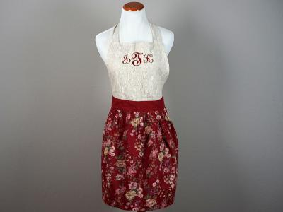 Vintage Inspired Burgundy Floral Lace Hostess Apron