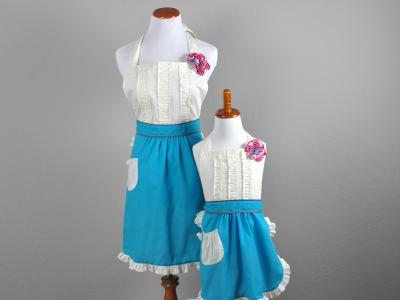 Mother and Daughter Teal and Cream Ruffle Apron Set