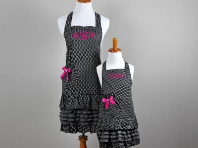 Mother and Daughter Black and White Polka Dot Apron Set