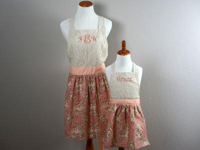 Mother and Daughter Dusty Rose Lace Apron Set