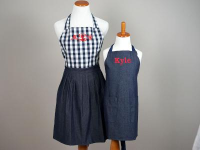 Mother and Son Navy Gingham Apron Set