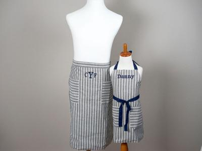Father and Son Striped Chambray Apron Set