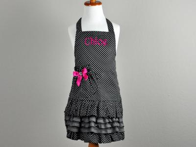 Childrens Black and White Polka Dot Apron