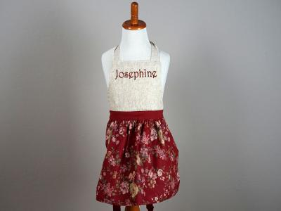 Girls Burgundy Floral Apron
