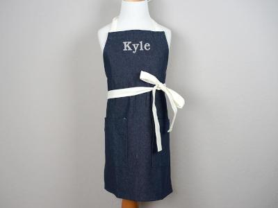 Dark Denim Kids Apron with Cream Ties