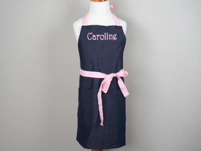 Dark Denim Kids Apron with Pink Ties