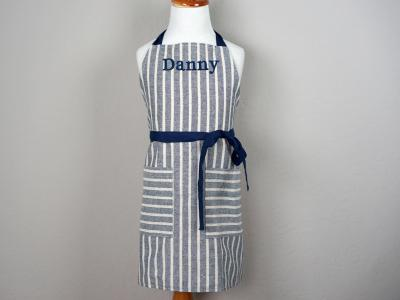 Striped Denim Kids Apron with Navy Ties