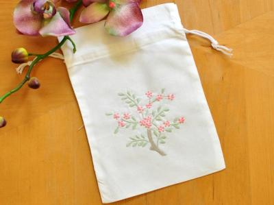Set of 3 Hankie Favor Bags with Pink Flowers