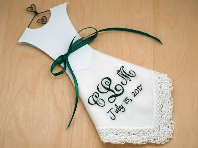 Monogrammed Wedding Dress Hankie Kit 3 Initial/Date Font J