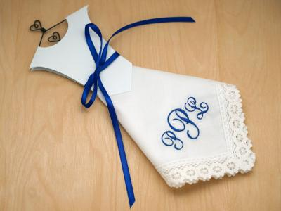 Monogrammed Wedding Dress Hankie Kit 3 Initial Font J