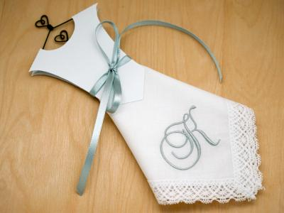 Monogrammed Wedding Dress Hankie Kit 1 Initial Font A