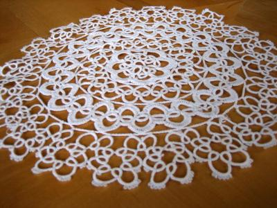 White Tatting Lace Round Doily 12""