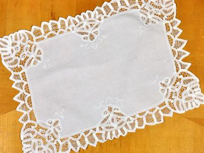 White Battenburg Lace Tray Cloth/Doily