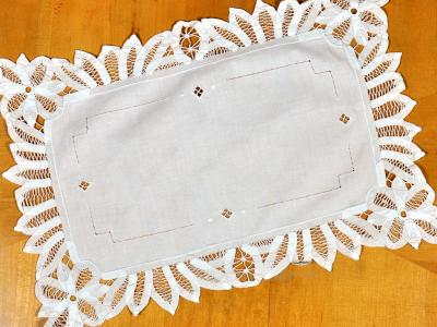 White Floral Battenburg Lace Doily / Tray Cloth