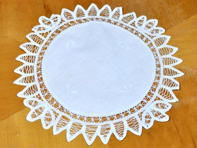 Round White Battenburg Lace Doily/Tray Cloth