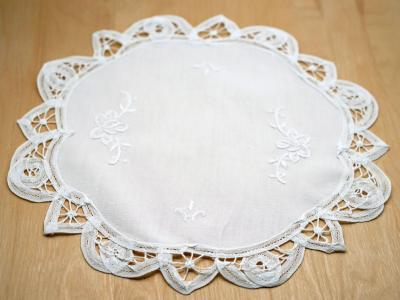 White Battenburg Lace Round Doily
