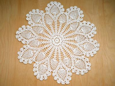 White Linen Crochet Peacock Feather Doily
