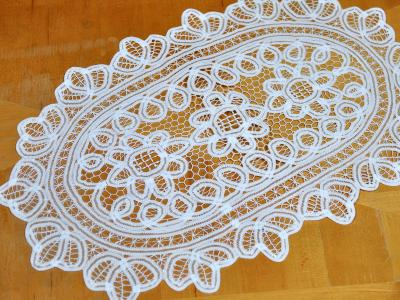 Extra Large White Battenburg Lace Oval Doily