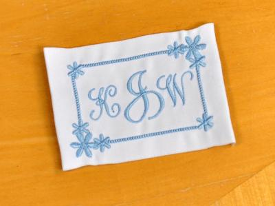 Sun Burst Monogrammed Wedding Dress Label w/ 3 Initials