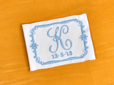 Scroll Monogrammed Wedding Dress Label w/ 1 Initial and Date