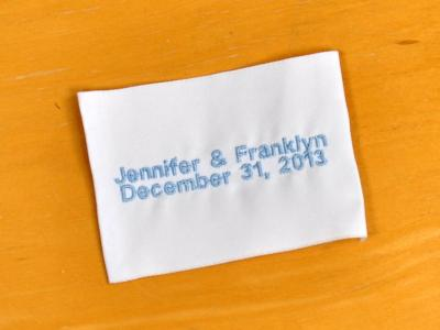 Personalized Wedding Dress Label w/ Names and Date