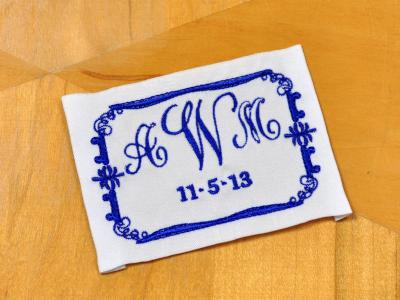 Scroll Monogrammed Wedding Dress Label w/ 3 Initial and Date
