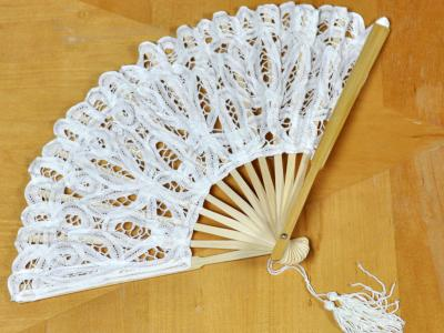 Cream Wedding Battenburg Lace Fan