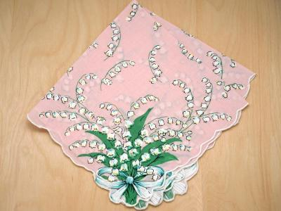Vintage Inspired Pink Lily of the Valley Print Hankie