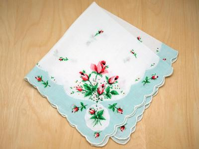 Vintage Inspired Tiffany Blue Rose Print Hankie