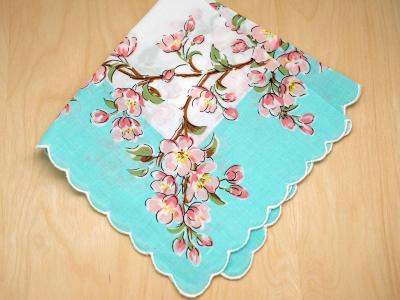 Vintage Inspired Pink Cherry Blossom Print Hankie