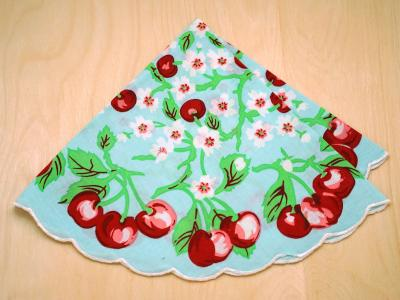 Retro Inspired Round Red Cherry Print Hankie