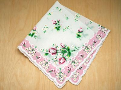 Vintage Inspired Dusty Rose Print Hankie