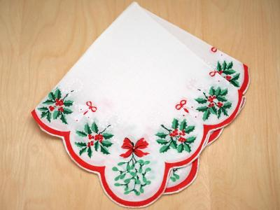 Vintage Inspired Christmas Holly and Mistletoe Print Hankie