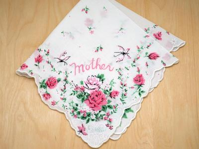 Vintage Inspired Floral Mother Print Hankie