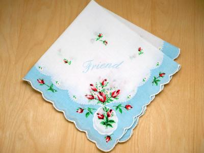 Vintage Inspired Sky Blue Friendship Print Hankie