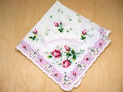 Vintage Inspired Grandmother Rose Print Hankie