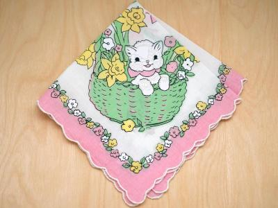 Vintage Inspired Childrens Kitty Print Hankie