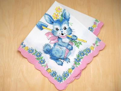 Vintage Inspired Childrens Blue Bunny Print Hankie