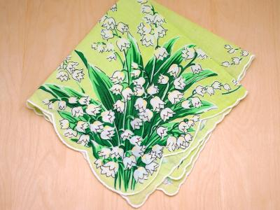 Vintage Inspired Lime Lily of the Valley Print Hankie