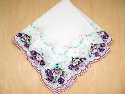 Vintage Inspired Purple Tulips Print Hankie
