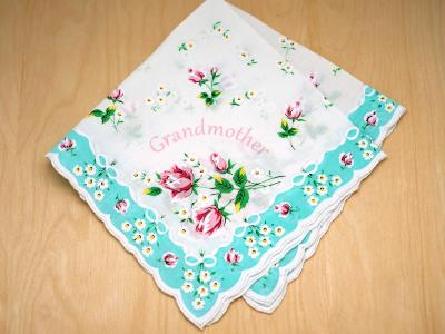 Vintage Inspired Teal Grandmother Rose Print Hankie